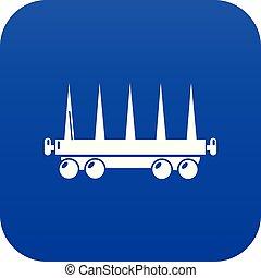 felszabadítás, tehervagon, kék, vektor, ikon