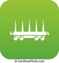 felszabadítás, tehervagon, vektor, zöld, ikon