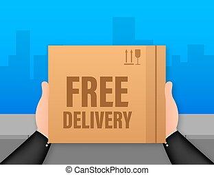 felszabadítás, transzparens, illustration., e-commerce., részvény, szabad, vektor, szolgáltatás, háló, delivery.