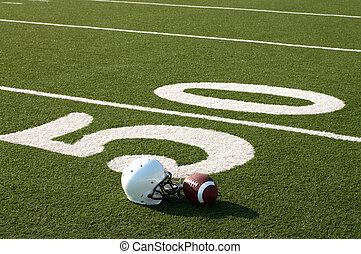 felszerelés, amerikai futball, mező
