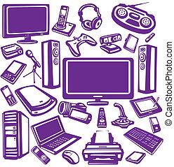felszerelés, elektronika, állhatatos, ikon, számítógépek