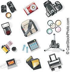 felszerelés, fotográfia, vektor, ikonok