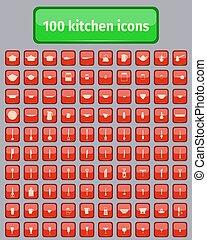 felszerelés, gombol, konyha, piros, ikonok