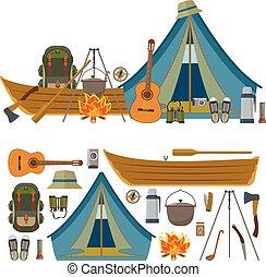 felszerelés, háttér., vektor, tábor, kifogásol, kempingezés, elszigetelt, fehér, ikonok, állhatatos, eszközök
