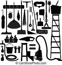 felszerelés, háztartás, belföldi, szerszám