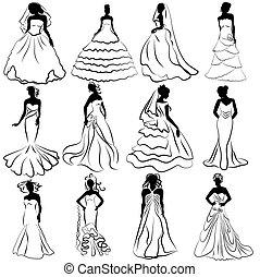 felszerelés, hivatal, esküvő, menyasszonyok, árnykép