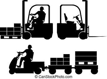 felszerelés, körvonal, munkaszervezési