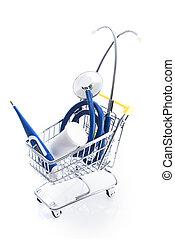 felszerelés, orvosi, bevásárlókocsi, anyagi készletek