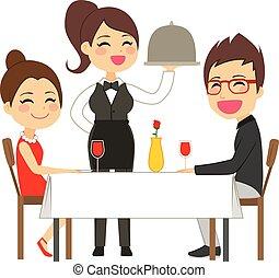 felszolgálás, pincérnő, étterem