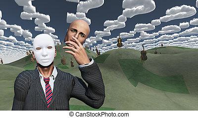 feltár, maszk, eltávolít, arc, alul, szürrealista, táj, ember