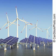 felteker, nap-, turbina, fanyergek, energia