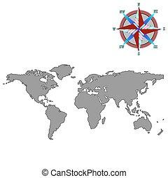 felteker, szürke, rózsa, világ térkép