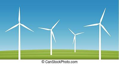felteker, windmills, fogalom, erő, energia, mező