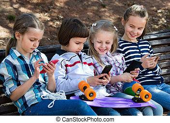 feltevő, csoport, gyerekek, mozgatható, berendezés