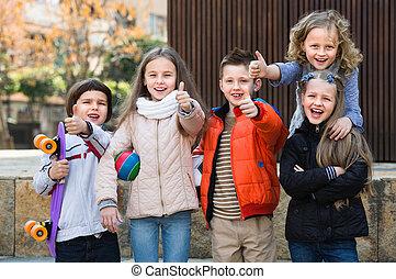 feltevő, utca, gyerekek, csoport, városi