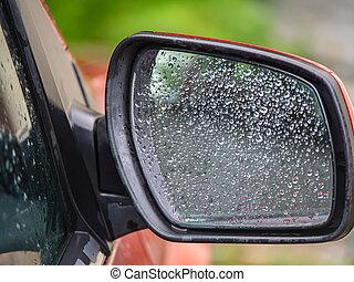 fenék, eső, szegély nézet tükör, autó, savanyúcukorka