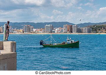 fenékhálós halászhajó, halászat, körülvett, rév, seagullsreturning