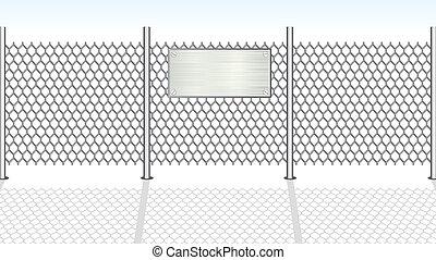 fence., vektor, chainlink, ábra