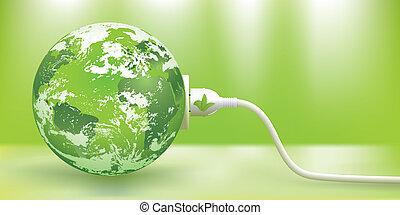 fenntartható, vektor, energia, zöld, fogalom