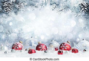 fenyő, elágazik, apróságok, -, hó, vidám christmas