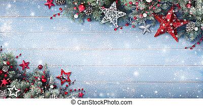fenyő, elágazik, apróságok, havas, -, karácsony, háttér, palánk