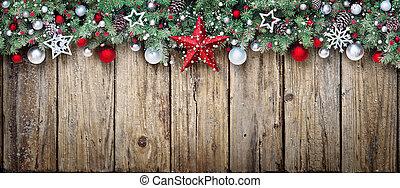 fenyő, elágazik, díszítés, erdő, idős, karácsony