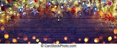 fenyő, elágazik, fából való, díszítés, karácsony, sötét, állati tüdő, palánk
