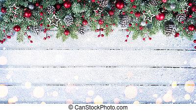 fenyő, elágazik, havas, díszítés, asztal, karácsony