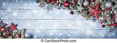 fenyő, elágazik, havas, fából való, díszítés, karácsony, palánk