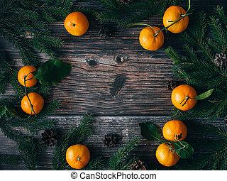 fenyő, elágazik, tél, cones., keret, sóvárog, mandarins, háttér, ünnep, karácsony