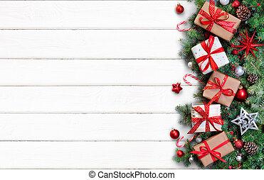 fenyő, elágazik, tehetség, -, dobozok, asztal, white christmas, kártya