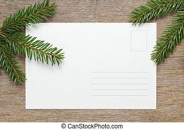 fenyő, fából való, ágacskák, háttér, asztal, karácsony
