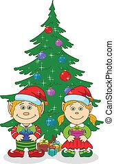 fenyő fa, karácsony, törpék