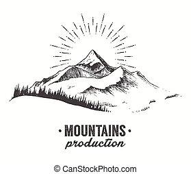 fenyő, hegyek, vektor, napnyugta, erdő, húzott, napkelte