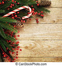 fenyő, hely, fából való, szöveg, ünnepies, fa, karácsony, háttér, -e