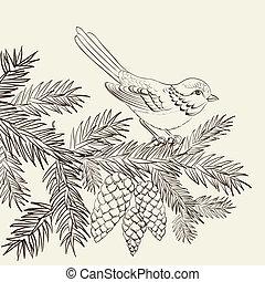 fenyő, pinecone., karácsony, madár
