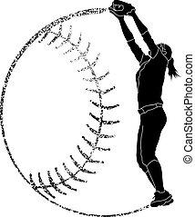 fertőző, árnykép, mezőnyjátékos, softball labdajáték