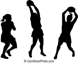 fertőző, játékos, labda, netball
