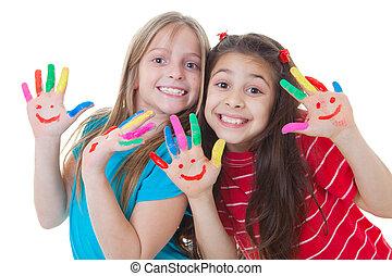 festék, gyerekek, játék, boldog