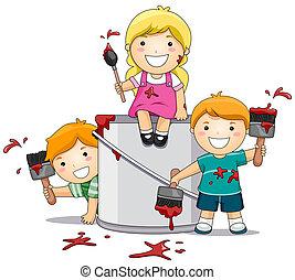 festék, gyerekek, játék