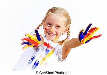 festék, gyermek, boldog, kézbesít