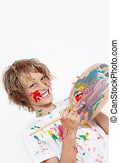 festék, kölyök, játék, arcátlan