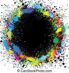 festék, szín, border., gradiens, vektor, loccsan, háttér