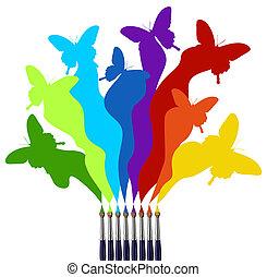 festék, szivárvány, pillangók, színezett, söpör
