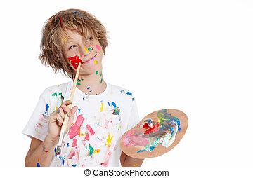 festék, tervezés, baj, ecset, gyermek