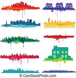 festék, tervezés, locsogás, város