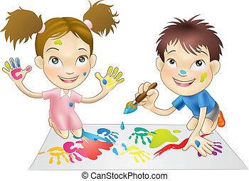 fest, játék, gyerekek, fiatal, két