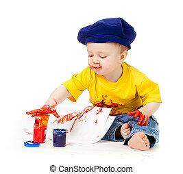 fest, művész, young gyermekek