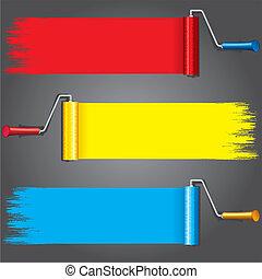 fest, wall., festék, vektor, különféle, forgócsapok