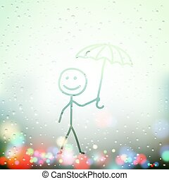 festett, ablak, ember, esernyő, izzadt